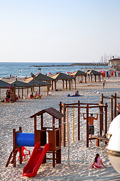 Beach huts and Leisure Area at Gordon Beach, Tel Aviv, Israel, Middle East