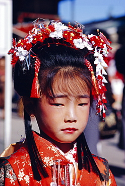 Girl in traditional costume, Japan
