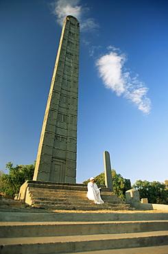 The leaning stele of King Ezana, Axum, Ethiopia, Africa
