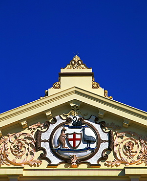 The Australian emblem on the pediment of a building in Kalgoorlie, Western Australia, Australia, Pacific