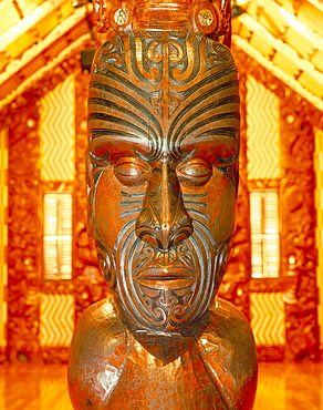 Maori statue with 'Moko' facial tattoo, New Zealand, Pacific