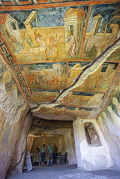 Panels depicting scenes from the Gospels, Rock Church The Holy Mother, 14th century Palaeologian style Medieval Christian Art, UNESCO World Heritage Site, Roussenski Lom River Valley, Bulgaria, Europe
