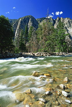 Rocks in the South Fork of the Kings River, with trees and crags in the background, in Cedar Gorge, Kings Canyon National Park, California, United States of America, North America