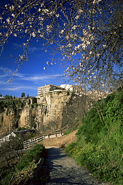 Footpath in the Guadalevin gorge in springtime, with Parador on clifftop in background, Ronda, Malaga, Andalucia, Spain, Europe