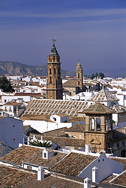 View of town from castle walls, including church of San Sebastian, Antequera, Malaga, Andalucia (Andalusia), Spain, Europe