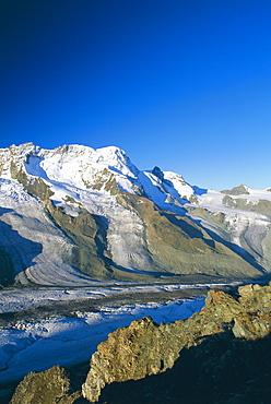View to the Breithorn and Breithorn Glacier, Gornergrat, Zermatt, Valais (Wallis), Swiss Alps, Switzerland, Europe