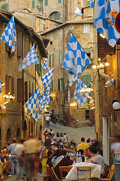 Palio banquet for members of the Onda (Wave) contrada, Siena, Tuscany, Italy, Europe