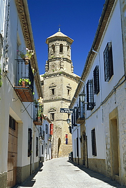 View to the tower of the Antigua Universidad (Old University), Baeza, Jaen, Andalucia (Andalusia), Spain, Europe