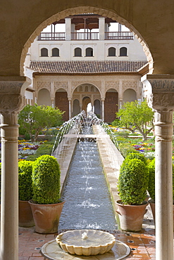 View through arch to the Patio de la Acequia, centrepiece of the gardens of the Generalife, UNESCO World Heritage Site, Granada, Andalucia (Andalusia), Spain, Europe