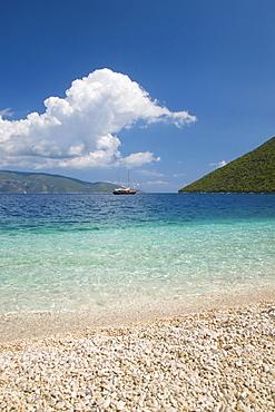 View from pebble beach across Antisamos Bay, Sami, Kefalonia (Kefallonia, Cephalonia), Ionian Islands, Greek Islands, Greece, Europe