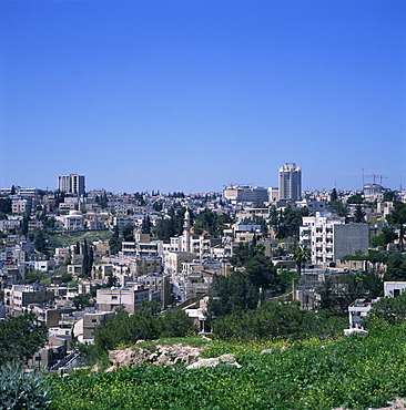 City skyline of Jebel Amman from the Citadel, including 2nd to 3rd Circle with Hotel Intercontinental and Jordan Tower, Amman, Jordan, Middle East