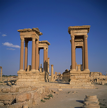 The Tetrapylon and the columned main street dating from the 1st century AD, at the ancient Graeco-Roman city of Palmyra, UNESCO World Heritage Site, Syria, Middle East