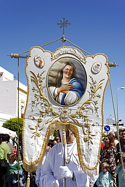 Easter Sunday procession at the end of Semana Santa (Holy Week), Ayamonte, Andalucia, Spain, Europe