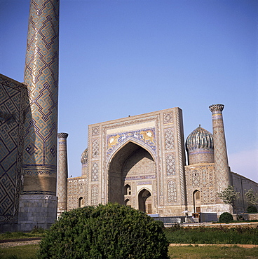 Ulugbek Madrasah, dating from 1420, Registan Square, Samarkand, Uzbekistan, C.I.S., Central Asia, Asia