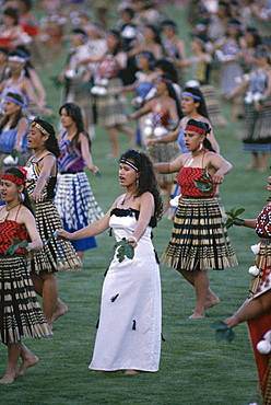 Maoris perform traditional action songs, Auckland, North Island, New Zealand, Pacific