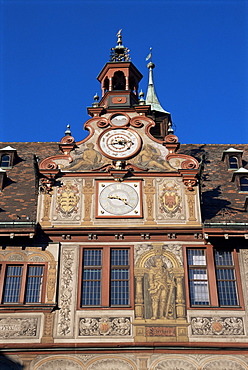 Detail of town hall, Tubingen, Baden-Wurttemberg, Germany, Europe