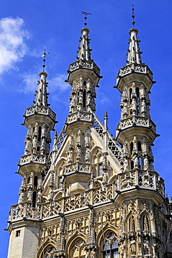Late Gothic Town Hall at Grote Markt Square, Leuven, Brabant, Belgium, Europe