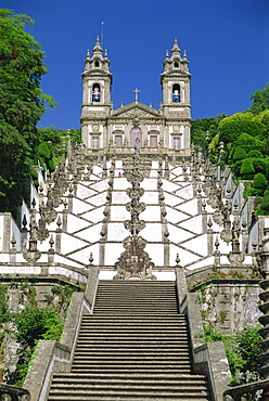 Basilica and famous staircases of Bom Jesus, the Good Jesus, completed in 1837, in the city of Braga, in the Minho Region of Portugal, Europe