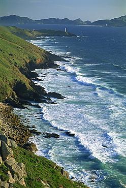Ria de Vigo, Cape Home and the Islas Cies, of the Rias Bajas, the Lower Estuaries, on the Atlantic coast in west Galicia, Spain, Europe