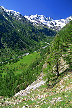 The Valnontey Valley at Cogne, with snow covered mountains beyond, in the Gran Paradiso National Park, in the Valle d'Aosta, Italy, Europe