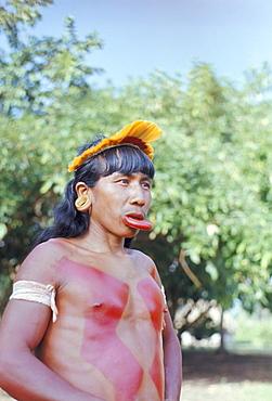 Suya Indian man with lip plate, Xingu, Brazil, South America (1971)