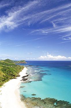 View down west coast, Yasawa Island, Fiji, Pacific