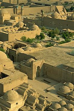 View of old city from Islam Khodja minaret, Khiva, Uzbekistan, Central Asia, Asia