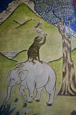 Wall painting showing animal interdependence, Hemis Monastery, Ladakh, India, Asia
