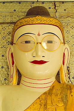 Shwemyethman Pagoda, Buddha with spectacles, near Pyay, Myanmar, Asia