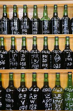 Bottles for tasting, Symington's port lodge, Oporto (Porto), Portugal, Europe