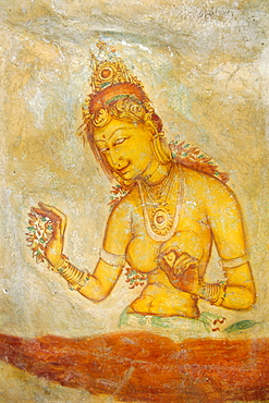 Temple mural of maiden, Citadel of Sigiriya, Sri Lanka, Asia
