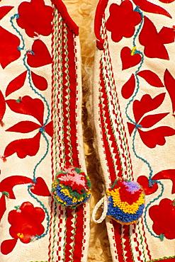 Detail of traditional Slovak folk embroidered waistcoat, Slovakia, Europe