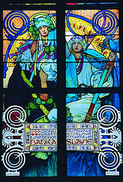 Stained glass window by Mucha, St. Vitus Cathedral, Prague, Czech Republic, Europe