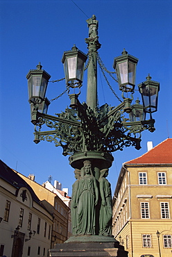 Elaborate lamp post, Hradcany, Prague, Czech Republic, Europe