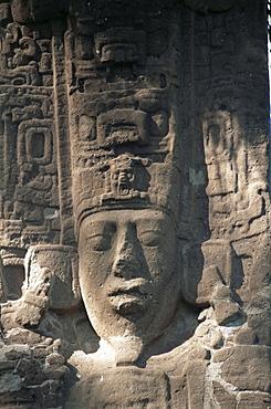 Close-up of Stele E, Mayan ruins, Quirigua, UNESCO World Heritage Site, Guatemala, Central America