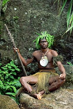 Pacific Harbour warrior on guard, Viti Levu, Fiji, Pacific Islands, Pacific