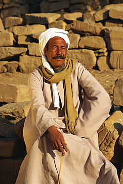Portrait of a man with a moustache looking like Dali's Egyptian cousin, Luxor, Egypt, North Africa, Africa