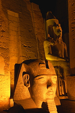 Floodlit statues of Ramses II, Temple of Luxor, UNESCO World Heritage Site, Luxor, Thebes, Egypt, North Africa, Africa