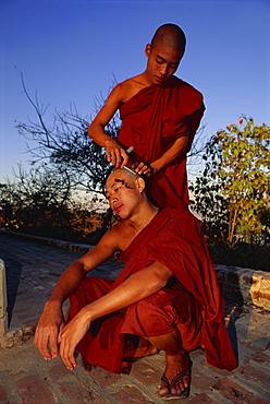 Buddhist monk having his head shaved, U Min Kyaukse Pagoda, Sagaing, Myanmar (Burma), Asia