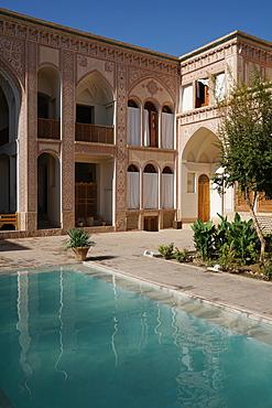 Courtyard of late 18th century Qajar Mansion, now Serai Ameriha Hotel, Kashan, Iran, Middle East