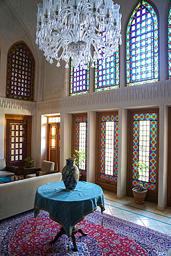 Interior of late 18th century Qajar mansion, now Serai Ameriha Hotel, Kashan, Iran, Middle East