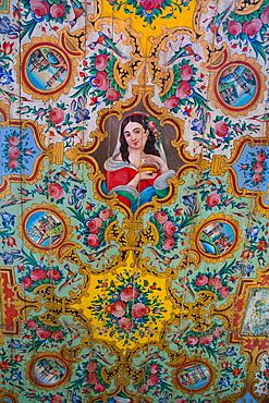 Painted woodwork on the ceiling, Pavilion, Bagh-e Narajestan (Citrus Garden), Shiraz, Iran, Middle East