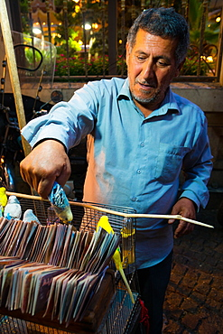 Fortune teller with blue budgie picking from alternative fortunes, Daraband, Northern Tehran, Iran, Middle East