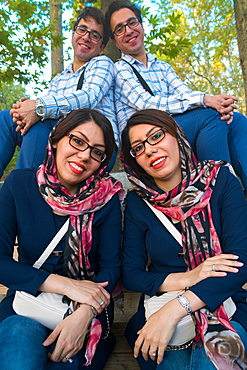 Married identical twins, White Palace, the last Shah's Summer Palace, Sa'ad Abad, Tehran, Iran, Middle East