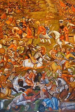 Mural of Battle of Chaldoran 1518 AD, Chehel Sotun (Chehel Sotoun) (40 Columns) Palace, Isfahan, Iran, Middle East
