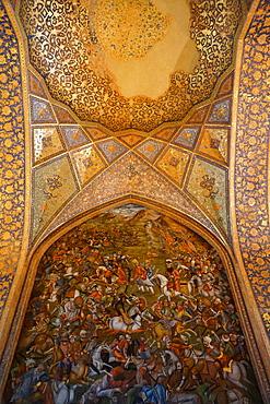 Mural of battle scene, Chehel Sotun (Chehel Sotoun) (40 Columns) Palace, Isfahan, Iran, Middle East