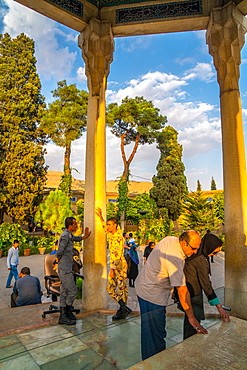 Poetry lovers paying respects at Tomb of Hafez, Iran's most famous poet, 1325-1389, Shiraz, Iran, Middle East