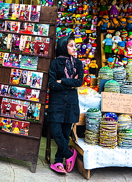Streetwise vendor of local skullcaps and dolls, Masuleh, Iran, Middle East