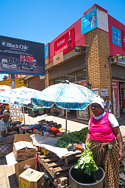 Street scene with vegetable seller in the heart of Soweto (South Western Township), Johannesburg, South Africa, Africa