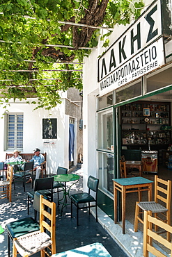 Forecourt of traditional cafe, Apollonia, capital of Sifnos, Cyclades, Greek Islands, Greece, Europe